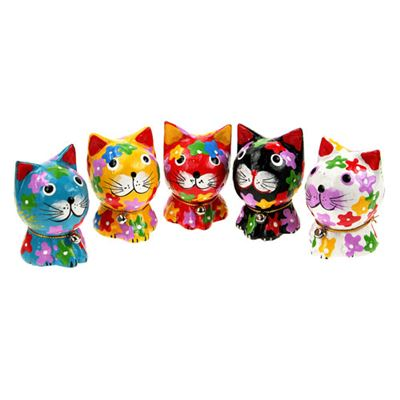 Coloured Mini Cats Pack of Five Fair Trade