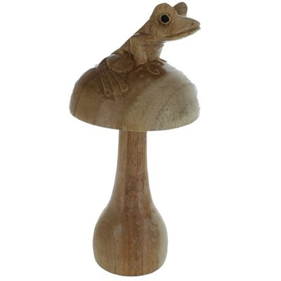 Fair Trade Wooden Mushroom Carving with Frog