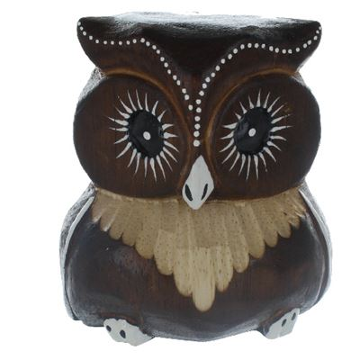 Brown Carved Owl Fair Trade 10cm