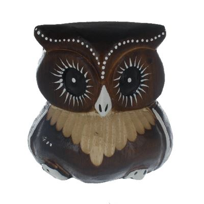 Brown Carved Owl Fair Trade 8cm