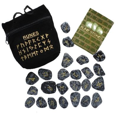 Snowflake Obsidian Rune Stones in Black Pouch
