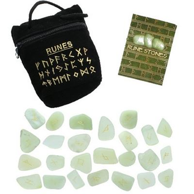 New Jade Rune Stones in Black Pouch
