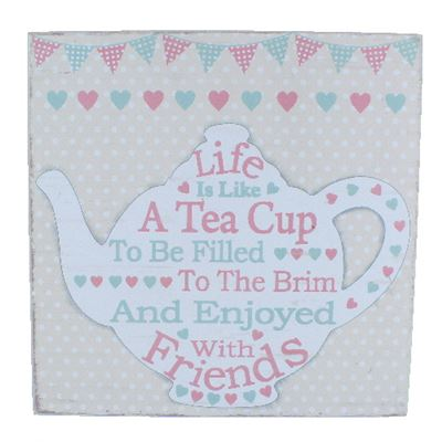 Life Is Like A Tea Cup Large Word Block