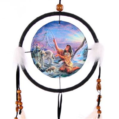 Native Indian & Wolves Dream Catcher Small