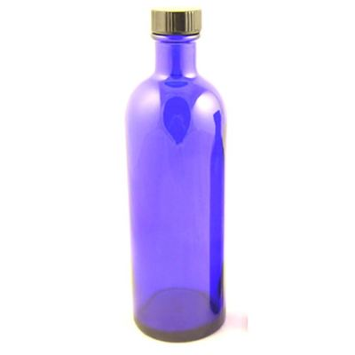 Glass Bottles Blue Helmsley with Black Cap 200ml