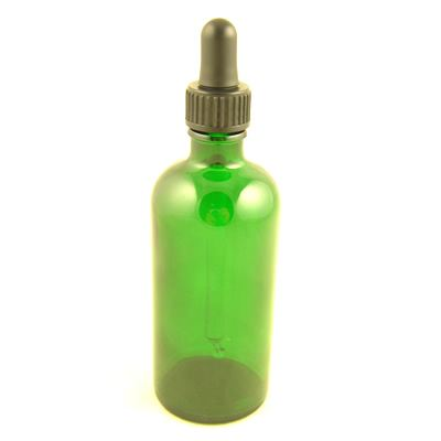 Glass Bottles Green Durham with Glass Pipette Screw On Cap 100ml
