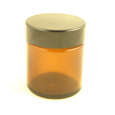 Glass Jar Amber with Black Cap 30ml