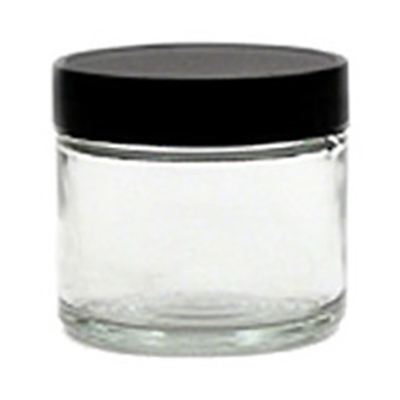 Glass Jar Clear with Black Cap 60ml