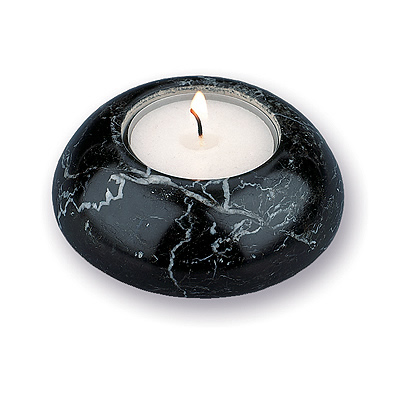 Black Marble Tealight Candle Holder Round & Small