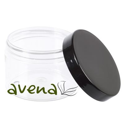 PET Clear Plastic Jars with Black Lid 150ml