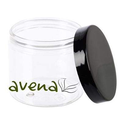 PET Clear Plastic Jars with Black Lid 200ml