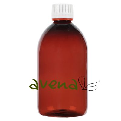 Plastic Bottles Amber with White Tamper Evident Cap 500ml