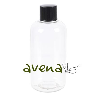 Plastic Bottles Clear with Black Screw On Cap 100ml