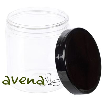 PET Clear Plastic Jars with Black Lid 250ml