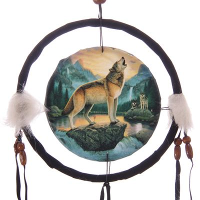 Howling Wolf Dream Catcher Small