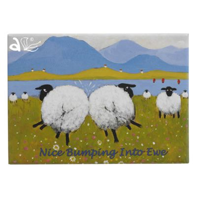 Nice Bumping Into Ewe Sheep Magnet by Thomas Joseph