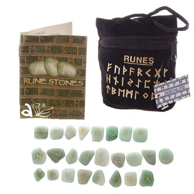 Aventurine Green Rune Stones in Black Pouch