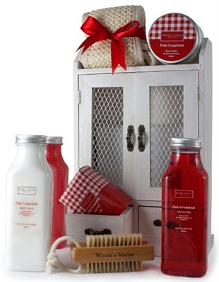 Pink Grapefruit Gift Set in Wooden Cabinet