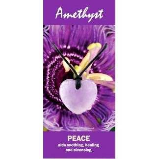 Amethyst Heart Necklace Natural Jewellery for Peace