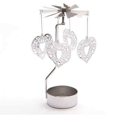 Heart Candle Spinner Silver