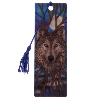 Wolf at Night 3D Bookmark by Lisa Parker