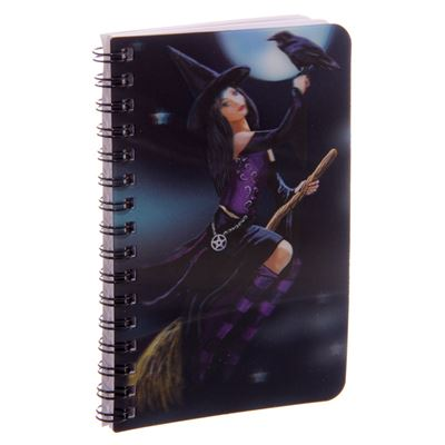 Witch on Broom 3D Notebook by Lisa Parker