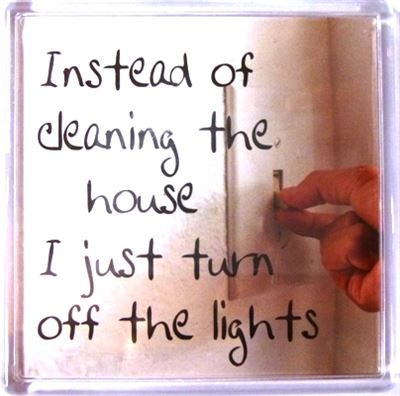 Instead of cleaning the house I just turn off the lights Fridge Magnet 143