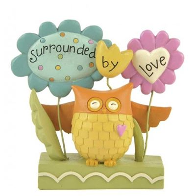 Surrounded by Love Owl Block with Flowers