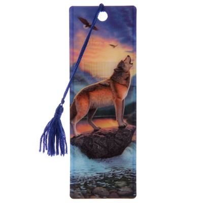 Howling Wolf on Rock 3D Bookmark by Lisa Parker