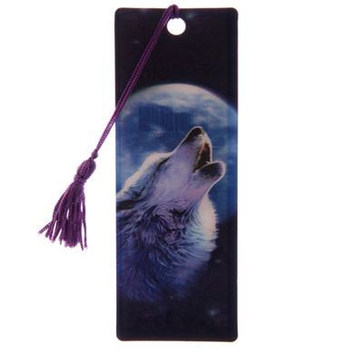 Wolf Howling at Moon 3D Bookmark by Lisa Parker