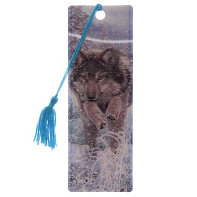 Wolf Running in Snow 3D Bookmark by Lisa Parker