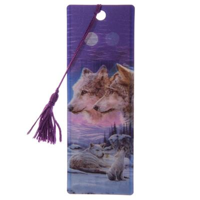 Wolf Family with Howling Cub 3D Bookmark by Lisa Parker