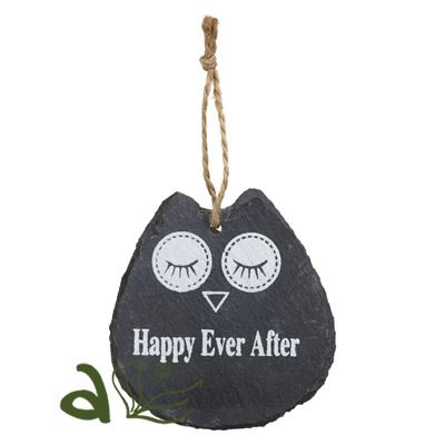 Happy Ever After Owl Slate Hanger
