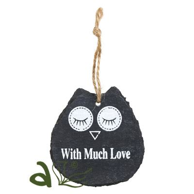 With Much Love Owl Slate Hanger
