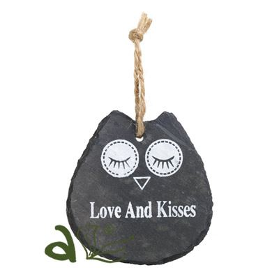 Love and Kisses Owl Slate Hanger
