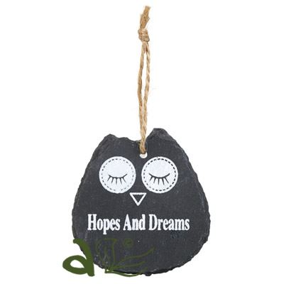 Hopes and Dreams Owl Slate Hanger