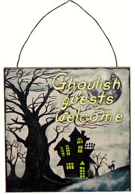 Ghoulish Guests Welcome Halloween Sign