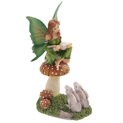 Fairy Storyteller on Mushroom with Hares