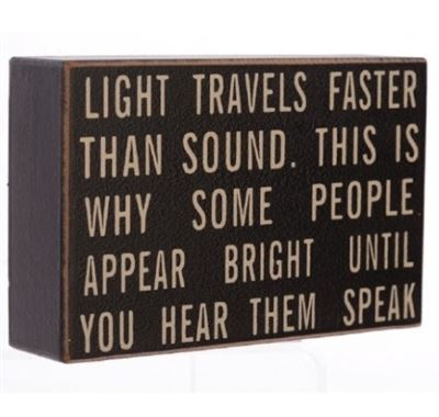 Light Travels Fast Wooden Block with Hanger