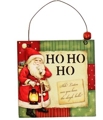Ho Ho Ho Wooden Plaque Hanger with Bell