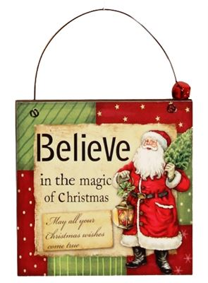 Believe in the Magic Wooden Plaque Hanger with Bell