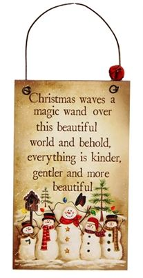 Christmas Waves a Magic Wand Tall Wooden Plaque Hanger