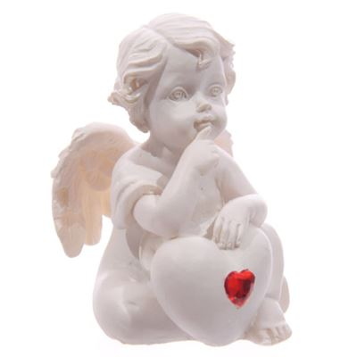 Cherub with Red Heart Finger on Chin