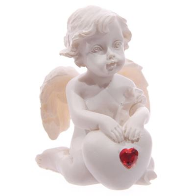 Cherub with Red Heart Kneeling