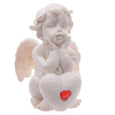 Cherub with Red Heart Hands on Chin