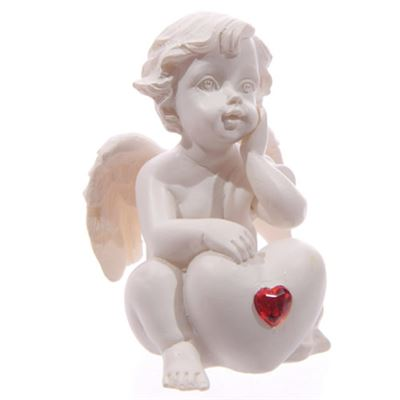 Cherub with Red Heart Hand on Cheek