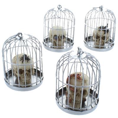 Set of 4 Skulls in Cages 'Captured Souls'