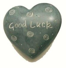 Good Luck Grey Soapstone Heart