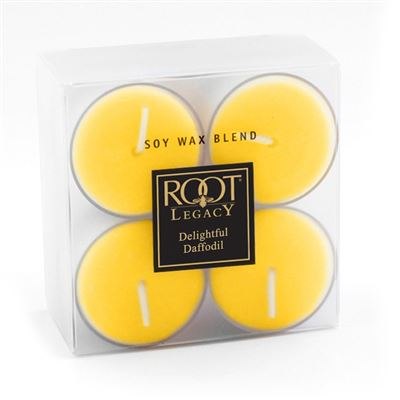 Delightful Daffodil 4 Hour Root Legacy Tea Light Candles 8 Pack