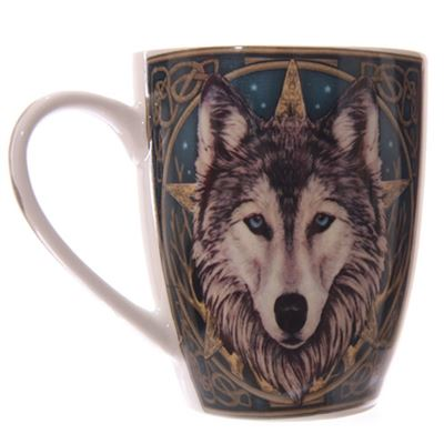 Wolf Head Bone China Mug by Lisa Parker